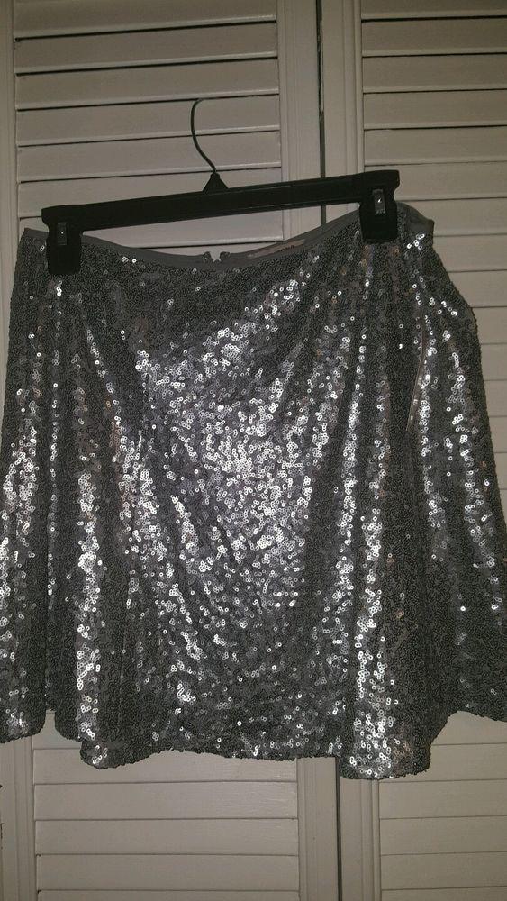 Women's Juniors Arizona Skater Skirt Silver Sequins Size LARGE NEW W Tags #Arizona #Skirt