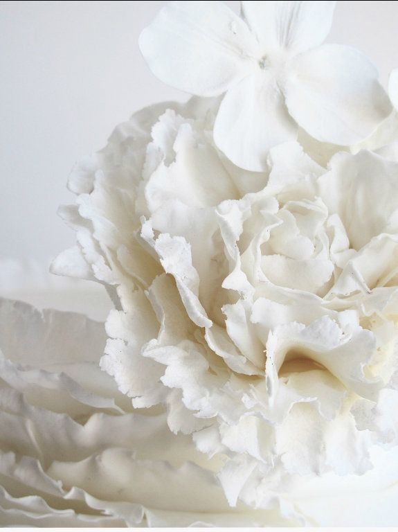 Close-up detail on a wedding cake.