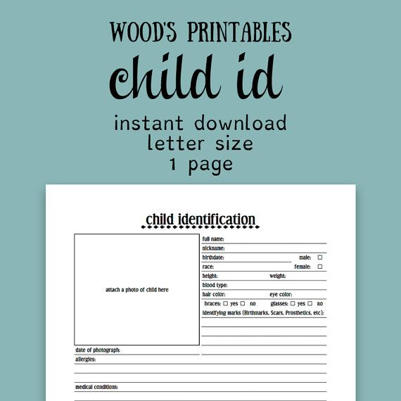 Child Identification PDF Printable Child ID By