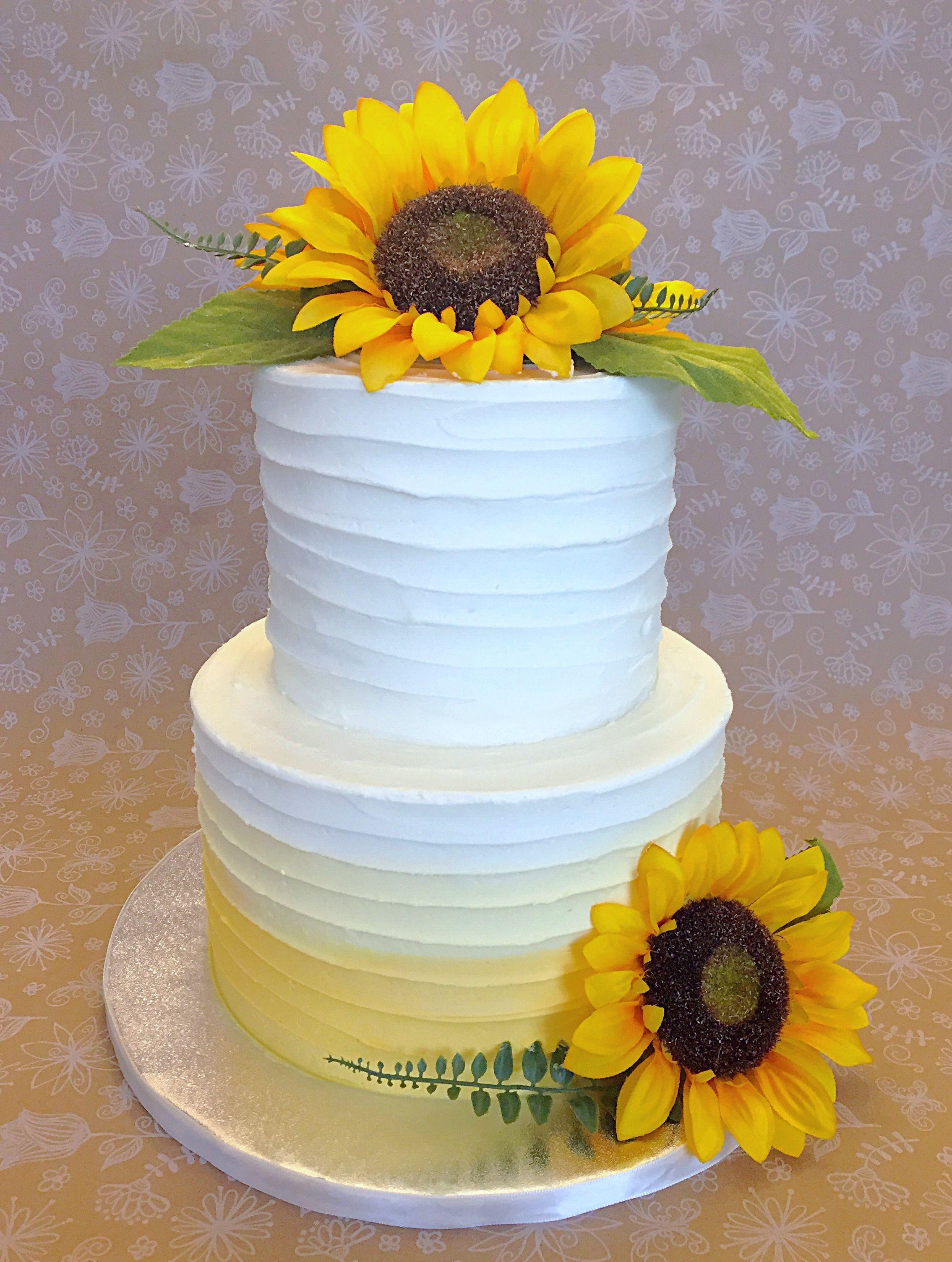 Rustic Yellow Ombré Sunflower Wedding Cake Sunflower