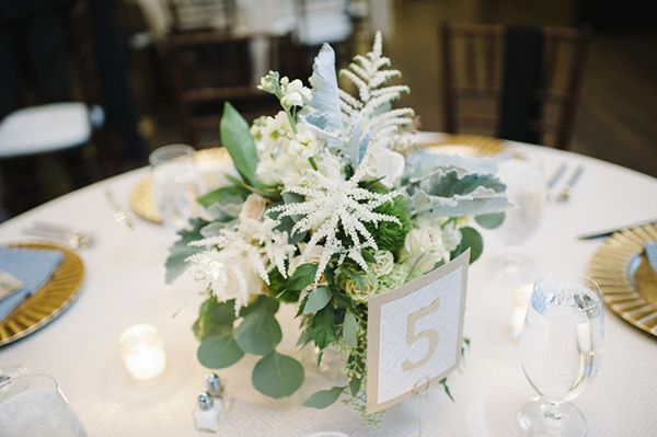 White and Silver Astilbe, Lambs Ear, and Eucalyptus Centerpiece | Mindy Sue Photography | Wintery Blush and Slate Blue Wedding