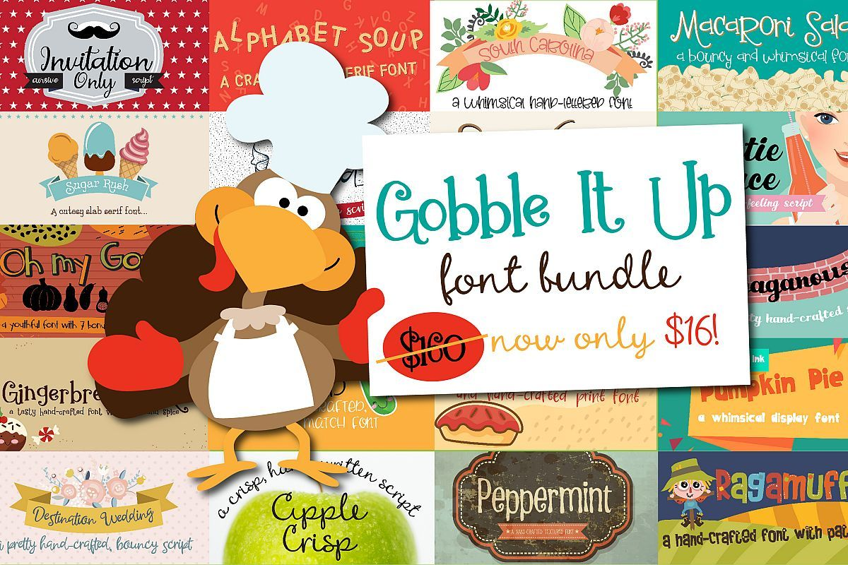 Gobble It Up Font Bundle Fonts, Cool fonts, Silhouette
