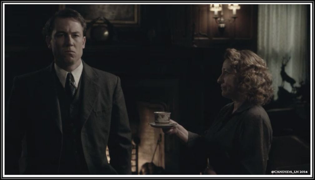 Mrs. Graham (Tracey Wilkinson) offers Frank (Tobias Menzies) a spot of tea. I really want him to swat that cup from her hands – at least in a dream sequence.