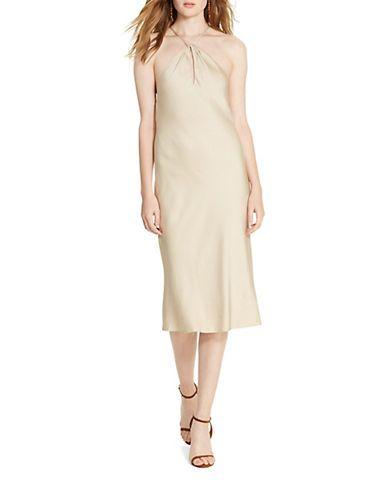 Polo Ralph Lauren Satin Crepe Dress Women's Natural Brown 10