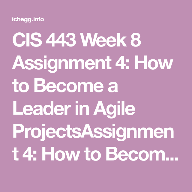 CIS 443 Week 8 Assignment 4: How To Become A Leader In