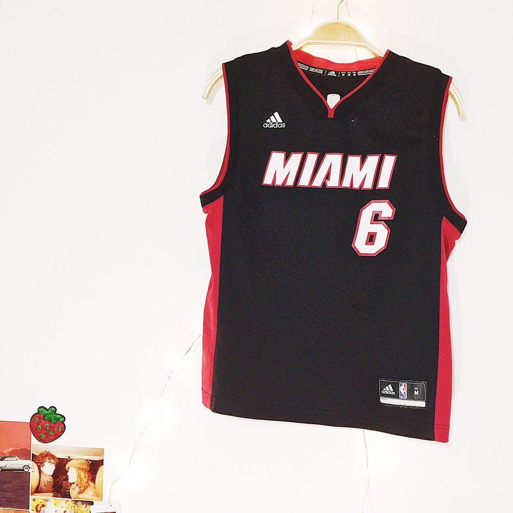 279d34ff1aa Miami Heat Lebron James NBA Adidas  6 Black Red Jersey Youth Medium  Adidas   MiamiHeat