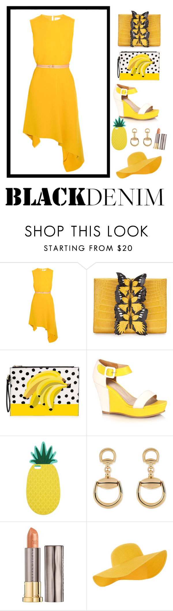 """""""#jaune"""" by gizemstyly ❤ liked on Polyvore featuring beauty, Victoria Beckham, Nancy Gonzalez, Miss Selfridge, Gucci, Urban Decay and Accessorize"""