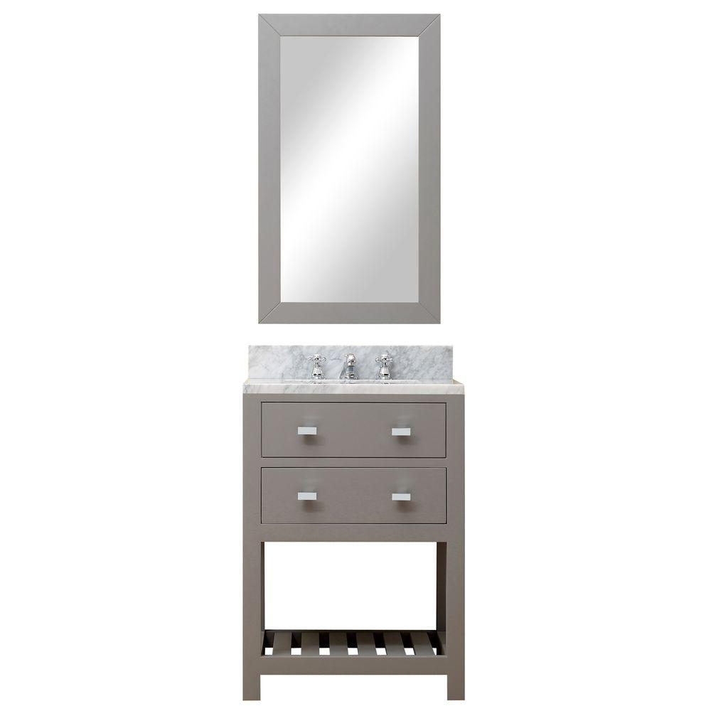 Water Creation 24 In W X 21 5 In D Vanity In Cashmere Grey With Marble Vanity Top In Carrara White And Mirror Madalyn 24gb In 2020 Single Bathroom Vanity Water Creation Vanity