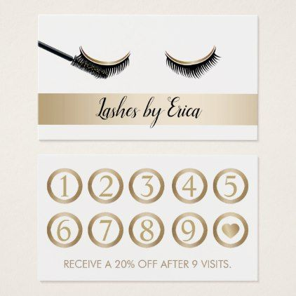 Eyelash Extensions Makeup Artist Gold Loyalty Business Card Artists Unique Special Customize Presents