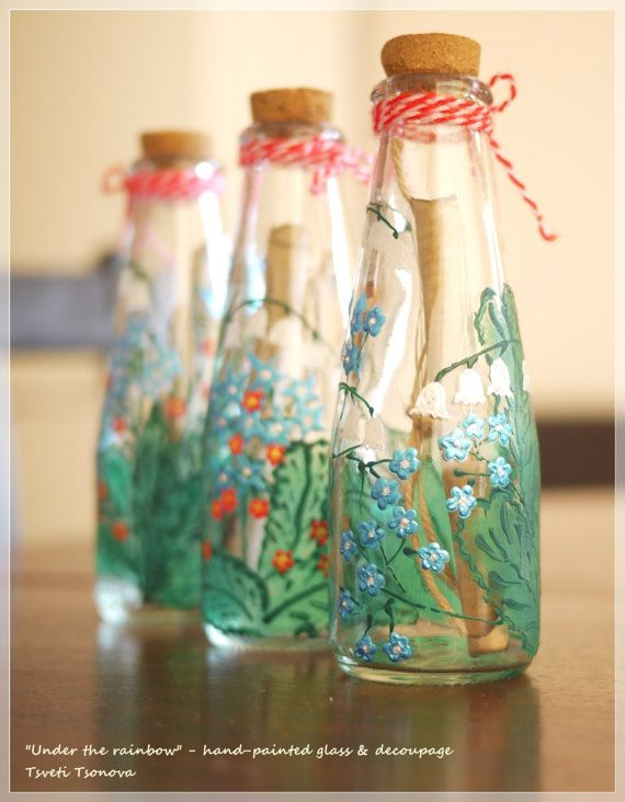 Letter in a bottle hand-painted glass bottle by UnderTheRainbowTT