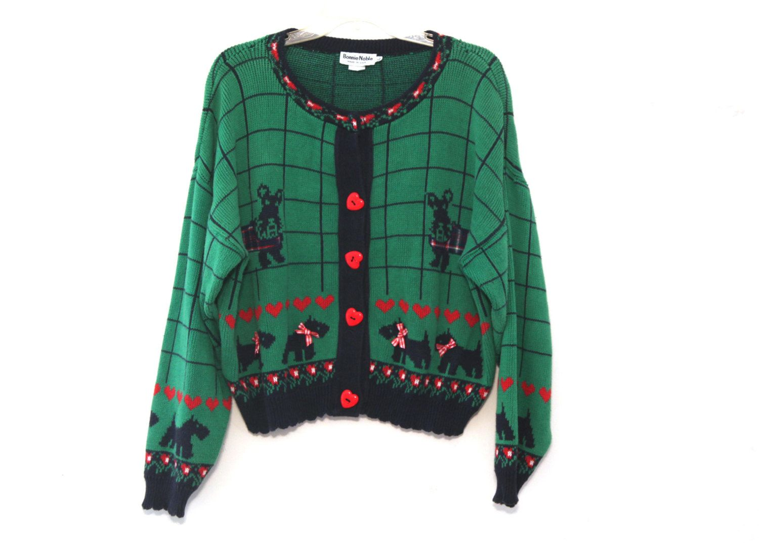 Vintage 80s sweater scottie dogs hearts green red blue christmas ...
