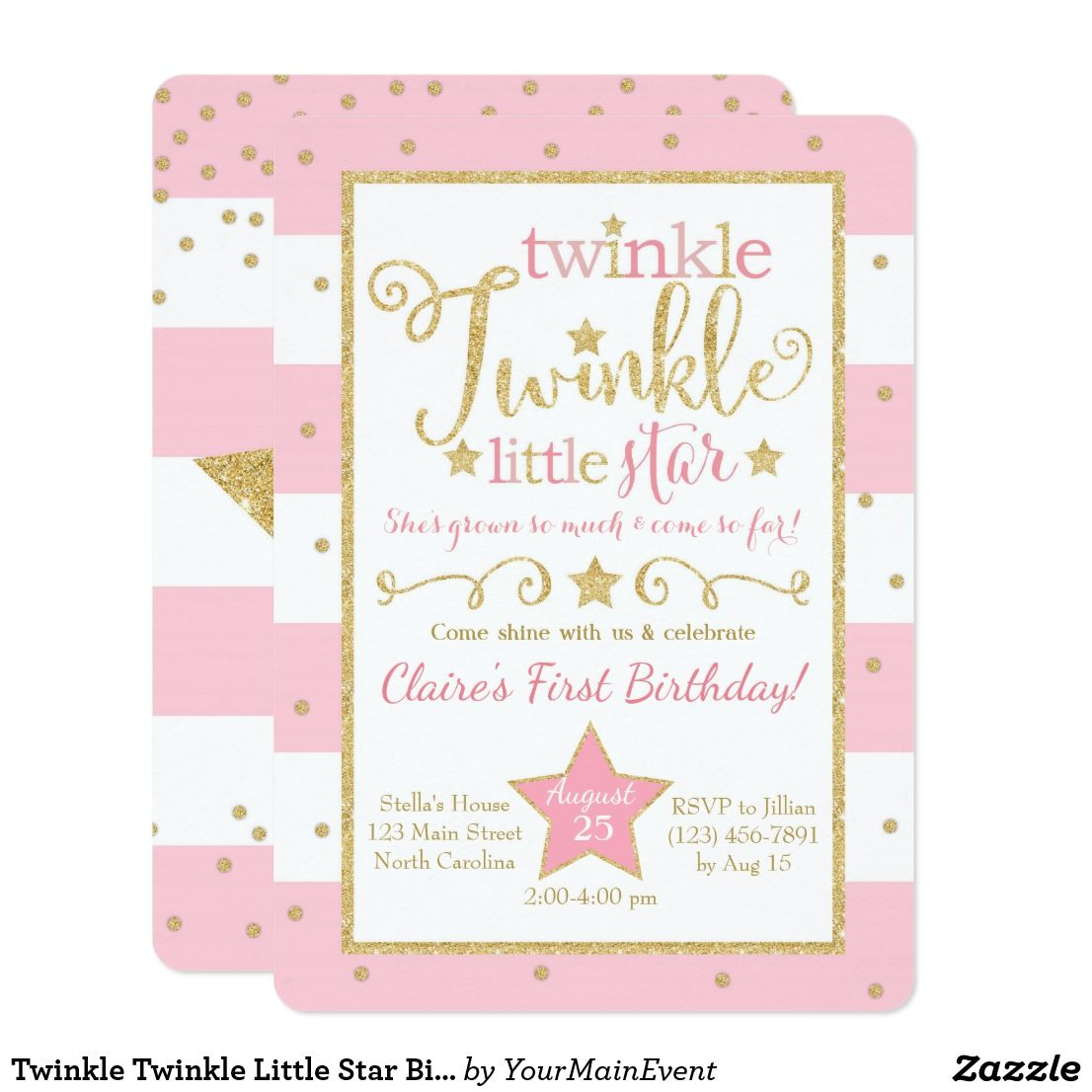 Twinkle Twinkle Little Star Birthday Invitation This pink and gold ...