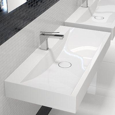100cm Waschtisch Waschbecken Doppelwaschbecken weiß Wandmontage - badezimmer doppelwaschbecken