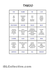 Taboo Game Cards Over A Hundred Printable With Template For Beginner And Intermediate Students The Objective Of Is Player