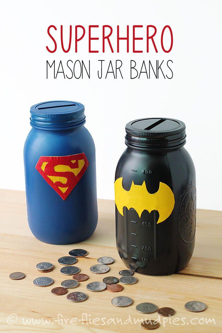 Superhero Mason Jar Money Banks Kids Diy Crafts Crafty Kids Crafts Kids Craft Projects Kids Craft Ideas Mason Jar Diy Jar Crafts Mason Jar Crafts