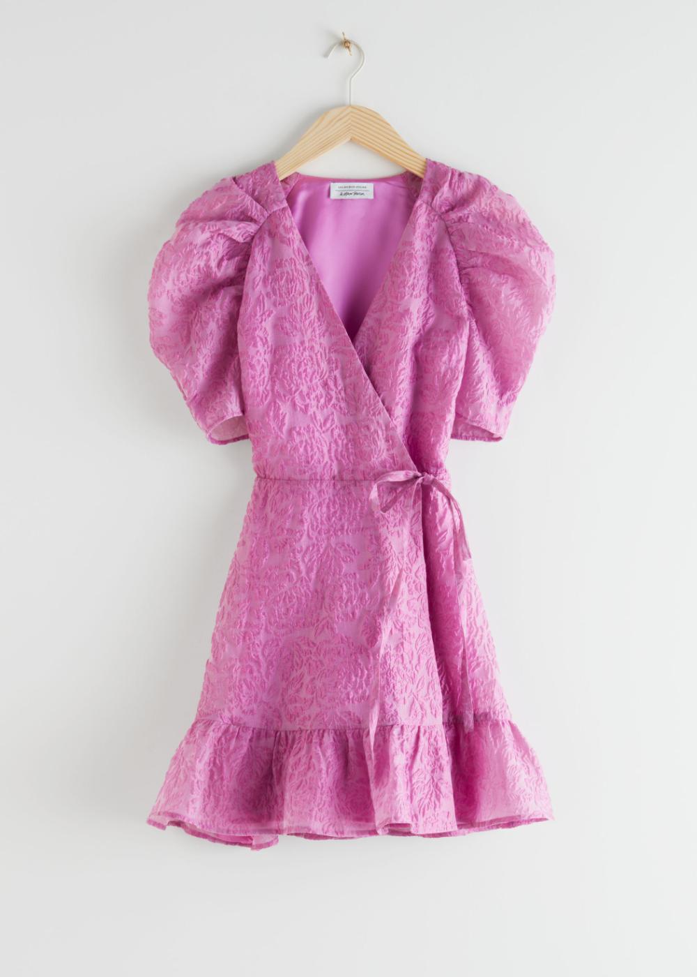 Puff Sleeve Wrap Mini Dress Mini Dress Mini Dress With Sleeves Mini Wrap Dress [ 1400 x 1000 Pixel ]