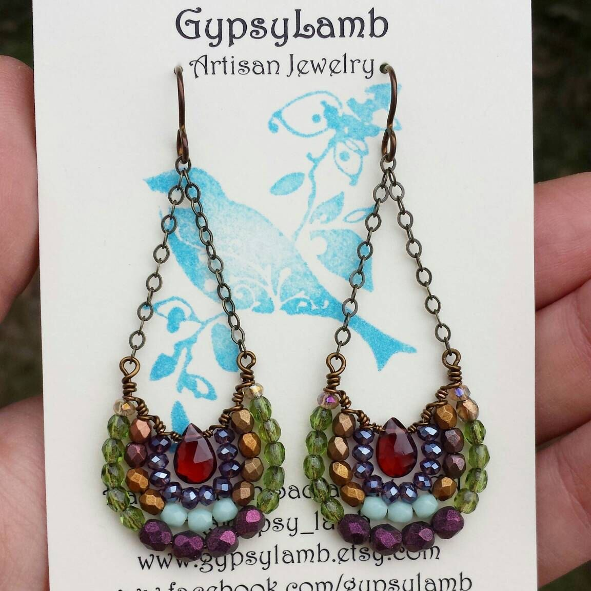Garnet Mirela EARRINGS Gems, Glass, Purple, Olive, Bronze, Lightweight, Gypsy, Boho Style, one-of-a-kind, *Ready-to-ship* by GypsyLamb on Etsy https://www.etsy.com/listing/266944512/garnet-mirela-earrings-gems-glass-purple