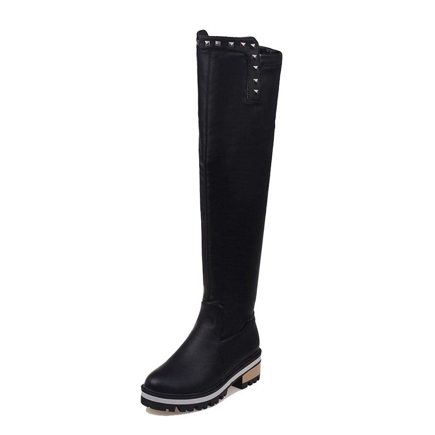 Women's Pull On Kitten Heels PU Solid Ankle High Boots