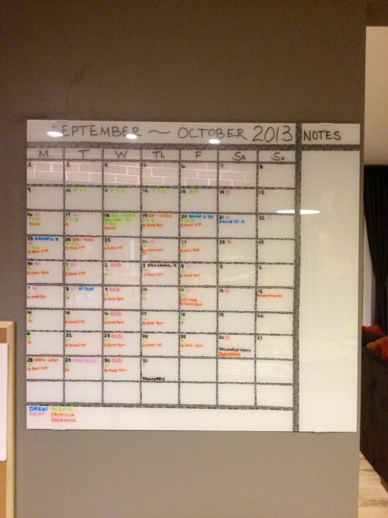 Diy 2 Month Calendar I Made With A Glass Whiteboard