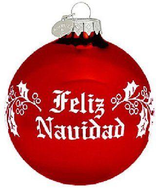 Feliz Navidad Spanish Glass Merry Christmas Tree Ornament ...