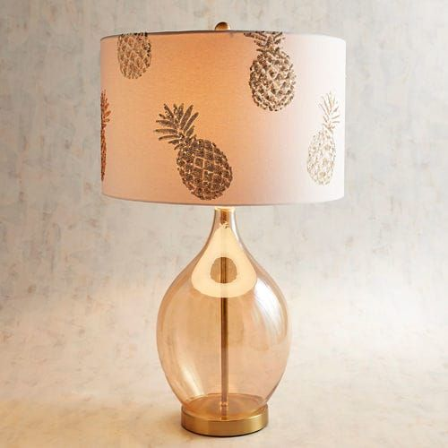 Golden Glass Table Lamp with Beaded Pineapple Shade | Room ...