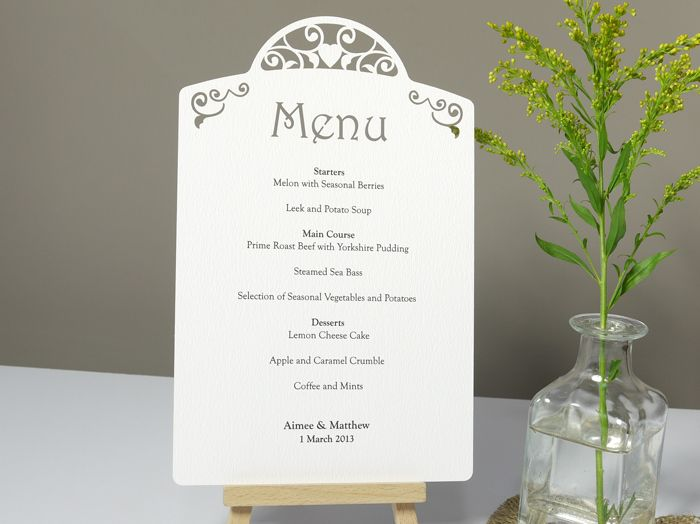 Laser Cut Printed Wedding Menu Card Each Wedding Menu Wedding