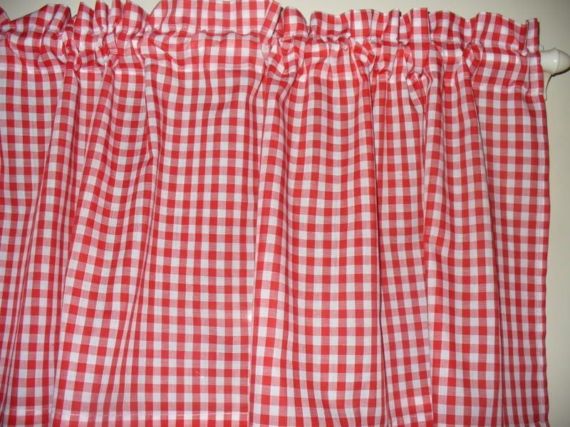 Red White Checked Checks Retro Diner Coke Fabric Kitchen Curtain Topper Valance Handmade