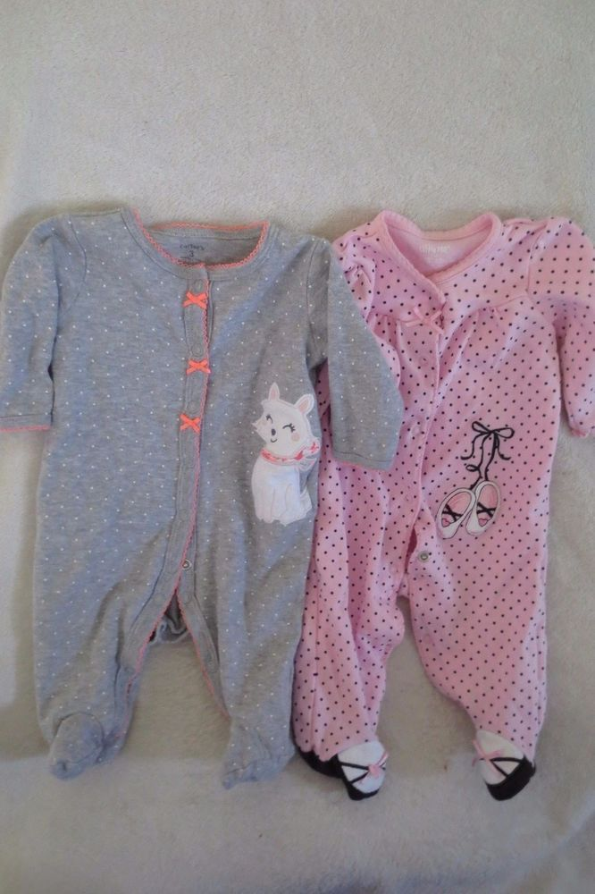 911448284 Baby Girl Infant Carter s Little Me Sleep and Play Pajamas Footie ...