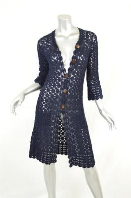 DIANE VON FURSTENBERG*KARA*Navy Crochet Cardigan Sweater-Coat ...