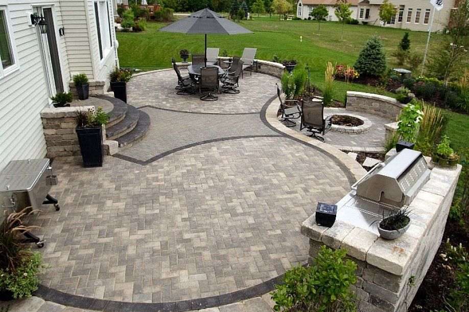 Patio Awesome White Colors Paver Patio Designs With Cooking