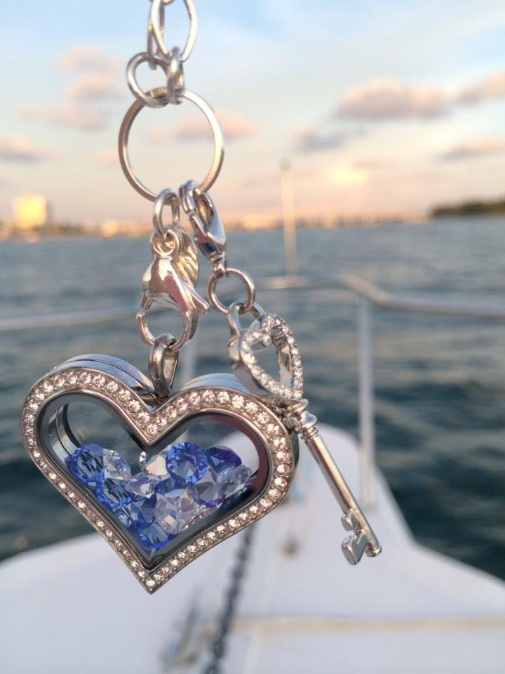 Heart Locket w/stones, beautiful sunset boating trip. www.itispersonal.origamiowl.com