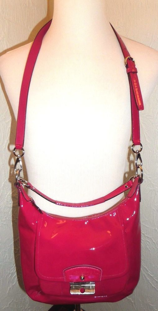 415a4fa78c66 ... new zealand coach kristin patent leather hobo shoulder handbag sv rose  19299 euc msrp 395 coach