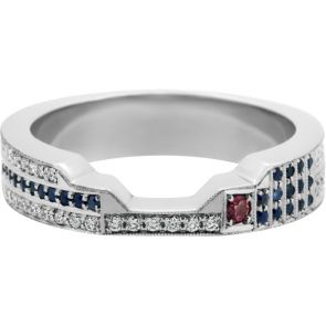 this custom made r2d2 inspired platinum fitted wedding band is set with australian diamonds - R2d2 Wedding Ring