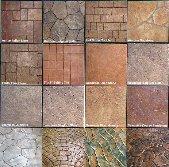 Concrete stamp designs outdoor pinterest concrete for Different patio designs