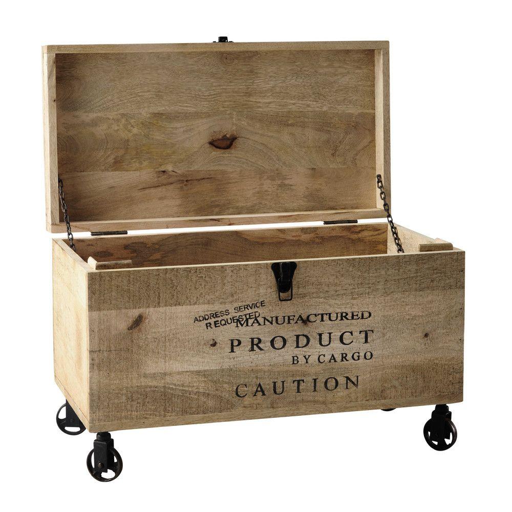 Malle Bar Maison Du Monde wooden trunk on castors w 70cm | wooden trunks, loft