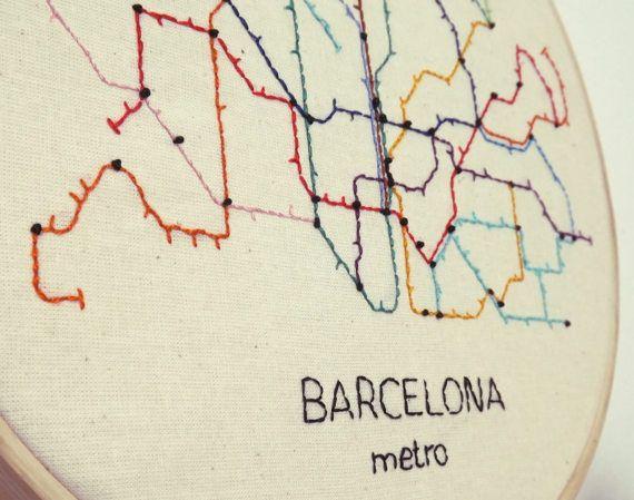 Metro Barcelona Mapa Pdf.Barcelona Metro Map Modern Hand Embroidery Pattern Instant