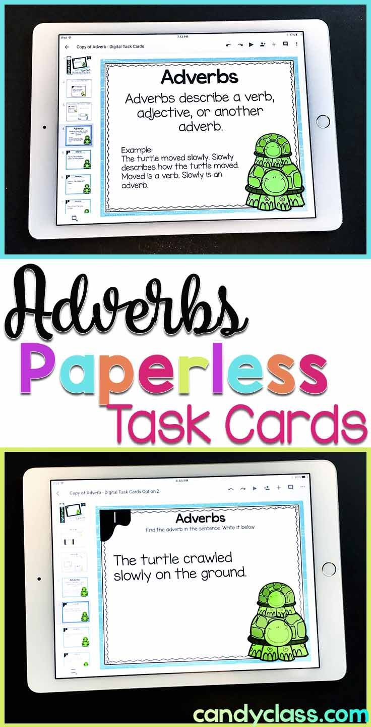 Adverb Task Cards Digital For Google Classroom Use Adverbs