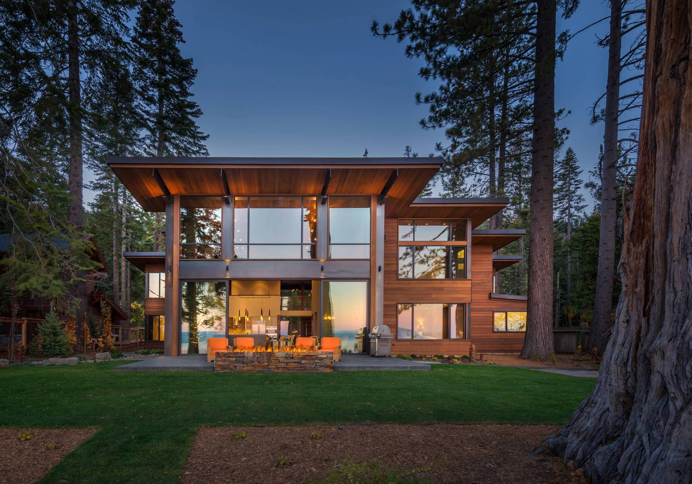 Sliding glass doors opening to backyard with firepit   Usual House ...