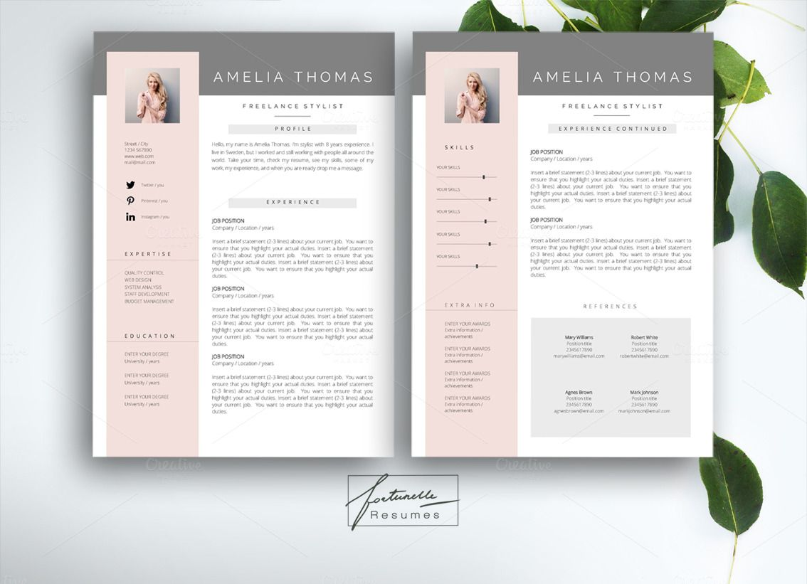 Resume Template For MS Word By Fortunelle Resumes On Creative Market