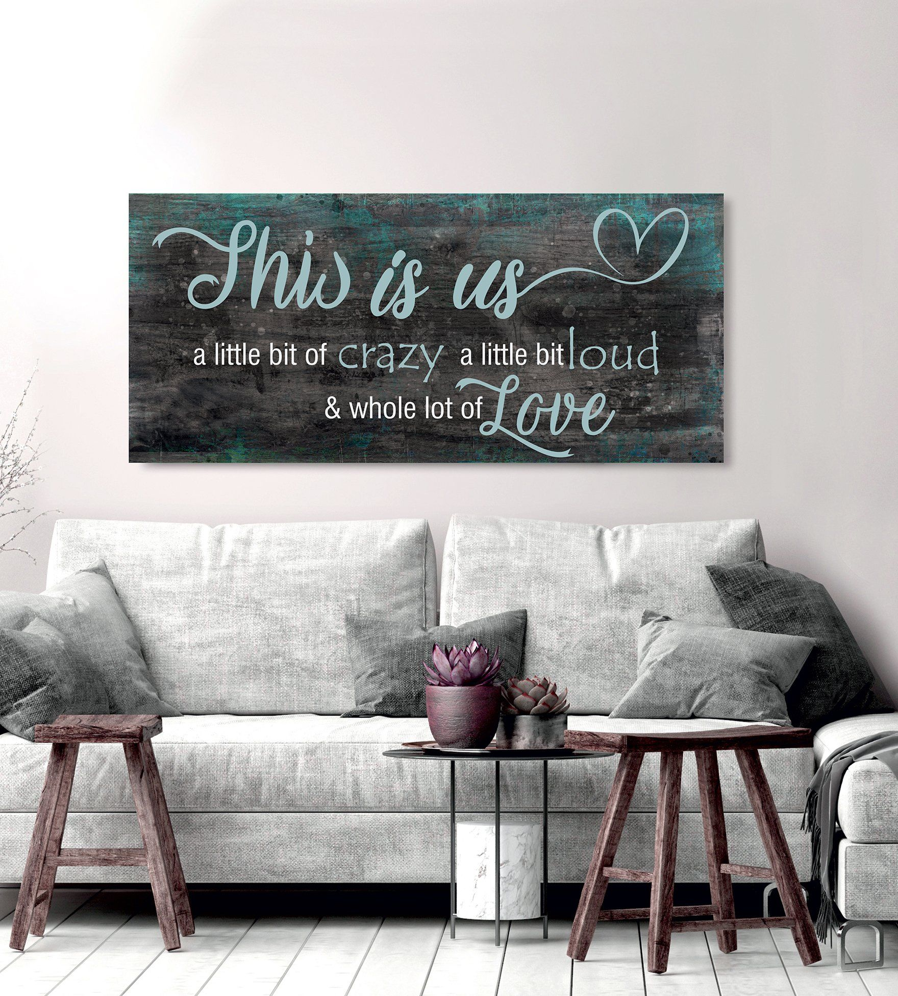 Family Wall Art: This Is Us A Little Crazy V2 (Wood Frame Ready To Hang)