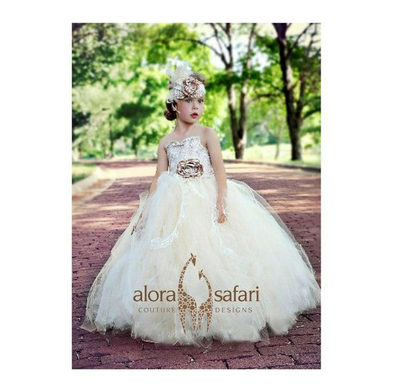 ad79509c7 flower girl dress-vintage flower girl tutu dress-custom champagne and ivory  lace flower