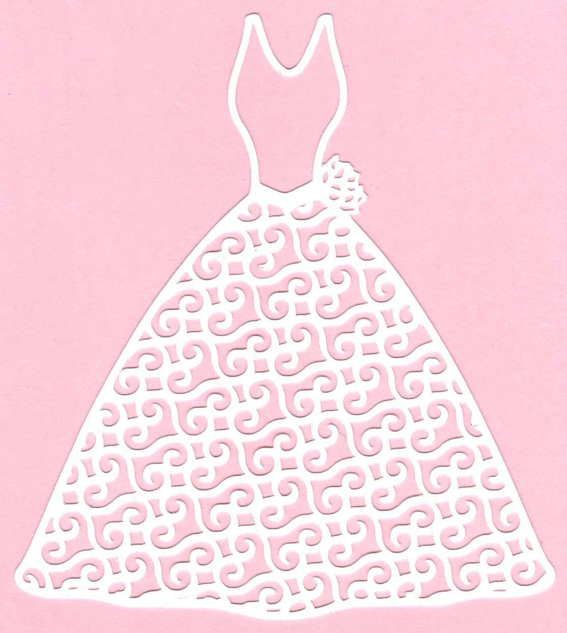 Wedding Dress Electronic cutter file. Perfect for bridal shower and wedding greeting cards or invitations.