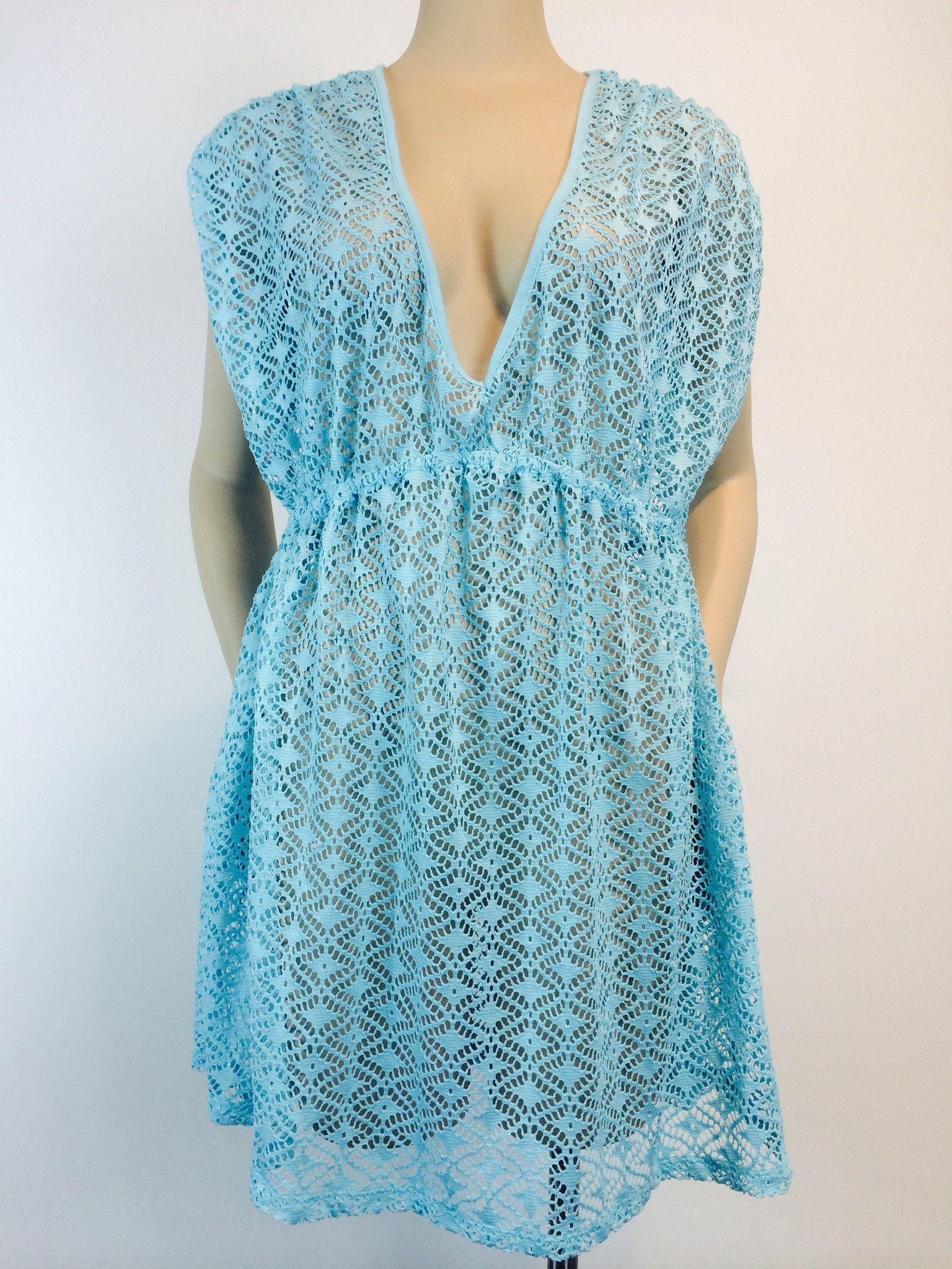 Vexy Aqua Crochet Cover Up XL