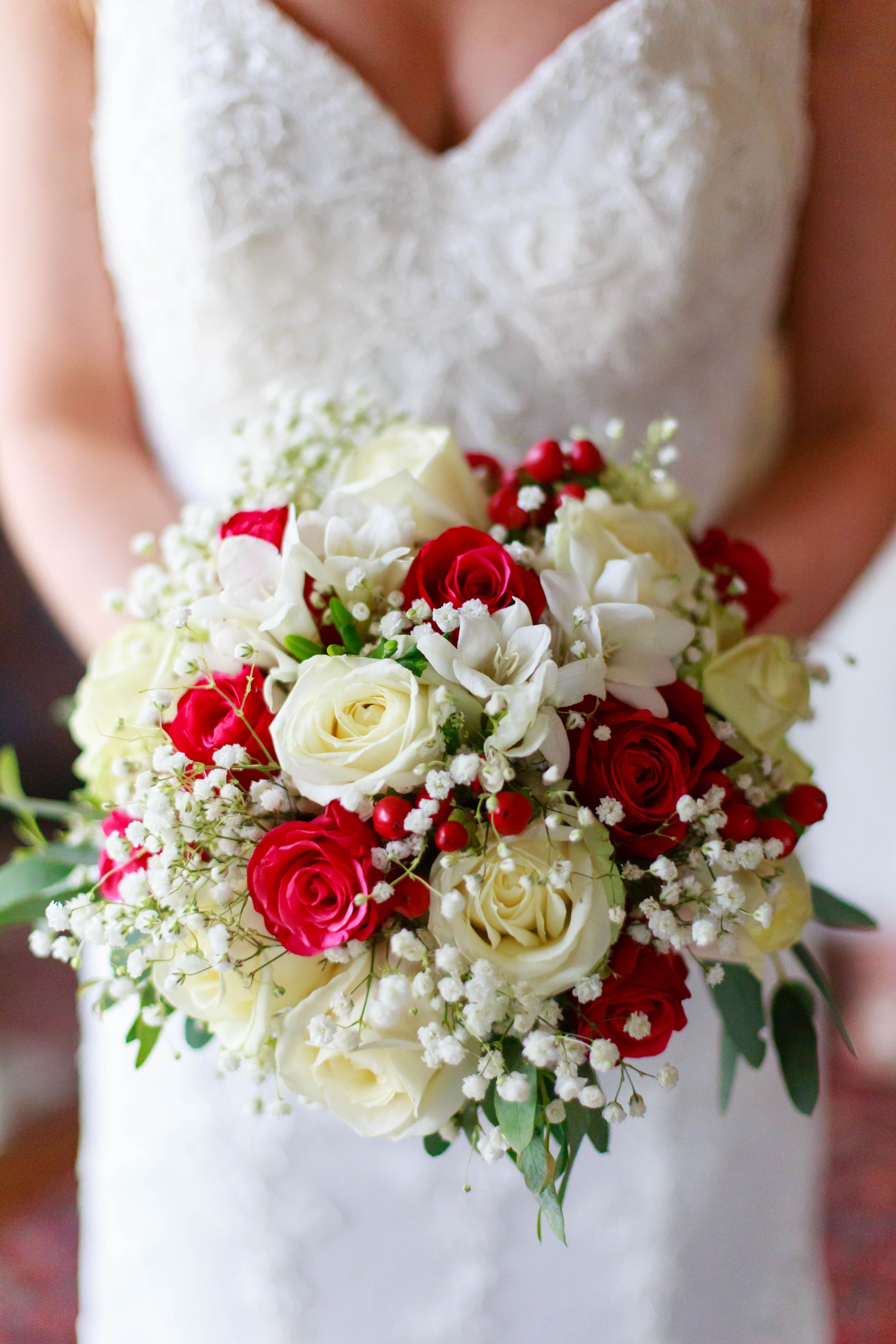 White And Red Bridal Bouquet Of Beautiful Roses Babys Breath And