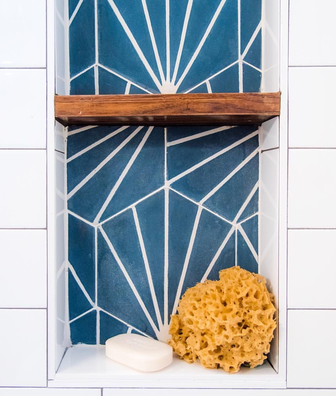 Pop of color! . . . While I wait for the cement tile samples to arrive from @cletile for our #modernmountainhome, I'm posting some inspirational photos. . . . Check out this radar hex in federal blue and white @thehappyvesta