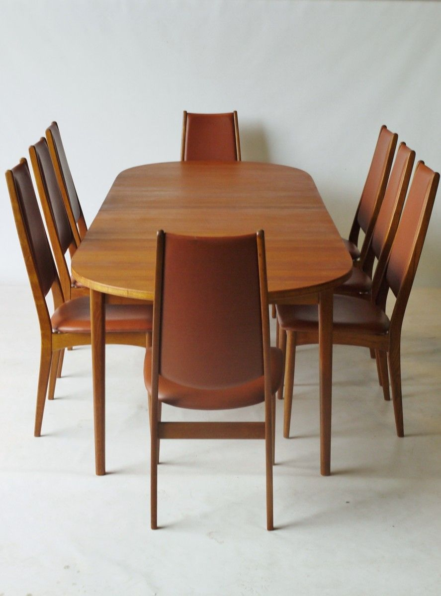 Danish Teak Dining Set With Extending Dining Table 8 Chairs 1960s 00
