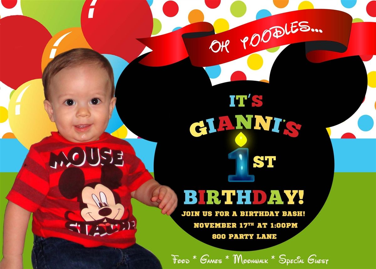 Images For Mickey Mouse 1st Birthday Invitations – Birthday Invitations Mickey Mouse