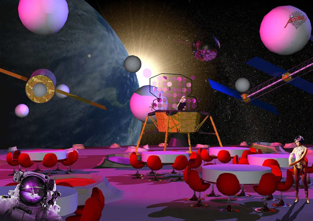 design of the main area of the space themed party, with a DJ