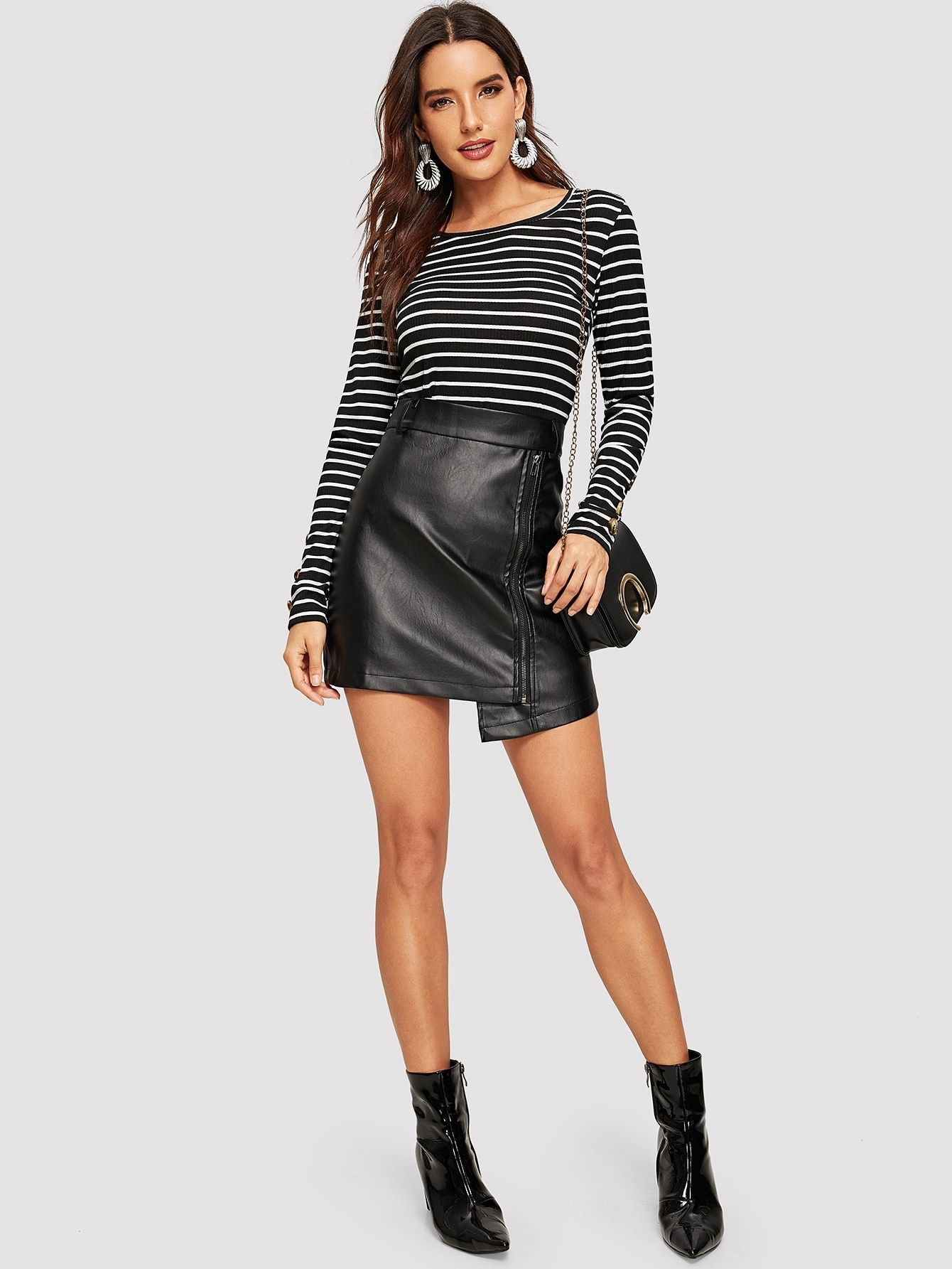 0707bda387 Casual Striped Regular Fit Round Neck Long Sleeve Pullovers Black Regular  Length Button Detail Form Fitted Striped Tee