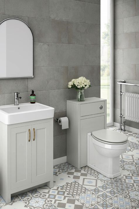 astonishing white bathroom vanity grey tile | Chatsworth Traditional Grey Sink Vanity Unit + Toilet ...